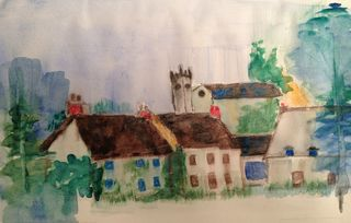 A watercolor painting of Godshill from a watercolor challenge at Wetcanvas.com