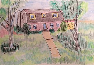 Watercolor of a house in Hopewell Virginia where I grew up
